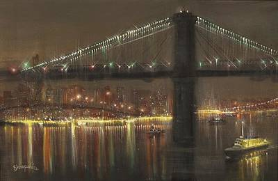 Brooklyn Bridge Painting - Brooklyn Bridge Cruciform by Tom Shropshire