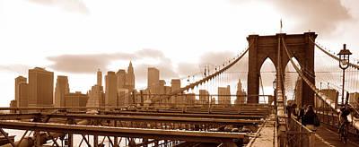Brooklyn Bridge In Sepia Print by Paul Van Baardwijk