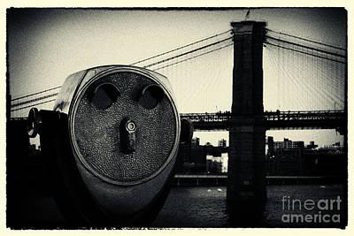 Vintage Photograph - Brooklyn Bridge New York City by Sabine Jacobs
