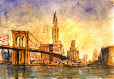 Brooklyn Bridge Painting - Brooklyn Bridge New York by Juan  Bosco