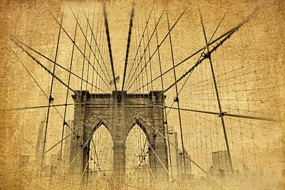 Brooklyn Bridge Postcard II Print by Jessica Jenney