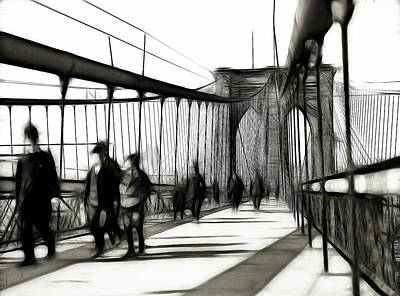 Brooklyn Bridge Drawing - Brooklyn Bridge Shades Of The Past by Stefan Kuhn