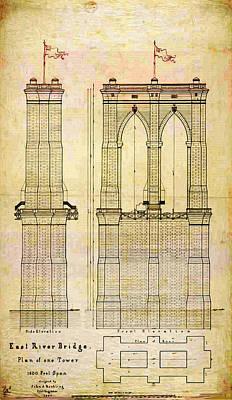 Nyc Digital Art - Brooklyn Bridge Tower One Plans by Digital Reproductions