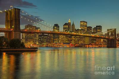 Brooklyn Bridge Twilight Print by Clarence Holmes