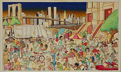 Crowd Scene Mixed Media - Brooklyn In The 90s by Paul Calabrese
