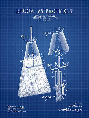 Broom Attachment Patent From 1905 - Blueprint Print by Aged Pixel