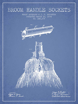 Broom Handle Sockets Patent From 1874 - Light Blue Print by Aged Pixel