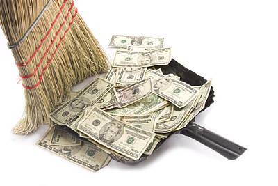 Sweeps Digital Art - Broom Sweeping Up American Currency by Keith Webber Jr
