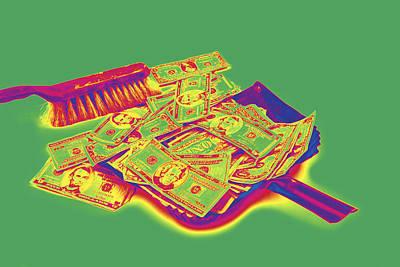 Sweeps Digital Art - Broom Sweeping Up American Money Pop Art by Keith Webber Jr