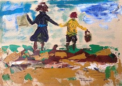 Pallet Knife Drawing - Brother And Sister Playing In The Field. by Roger Cummiskey