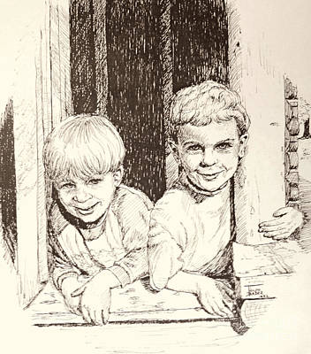 Portraiture Drawing - Brothers by Art By - Ti   Tolpo Bader
