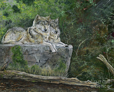 Wolves On A Rock Print by Barb Kirpluk