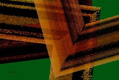 Abstract Digital Art - Brown And Green Art by Mario Perez