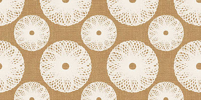 Brown And White Floral Print by Linda Woods