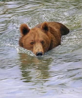 Brown Bear Painting - Brown Bear by David Stribbling