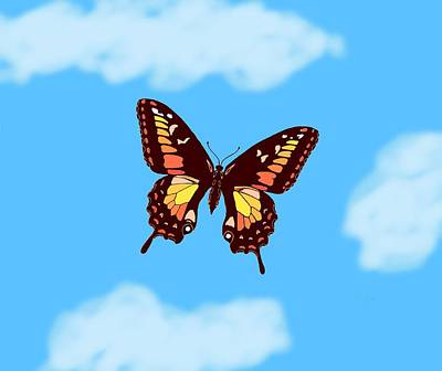 Brown Butterfly Skyscape Print by L Brown