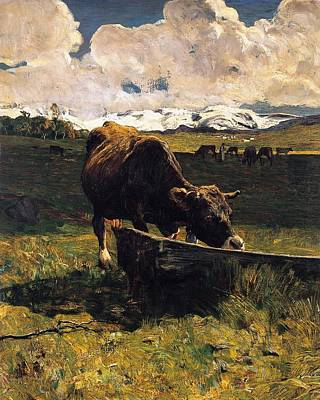 Literature Painting - Brown Cow At Trough  by Giovanni Segantini