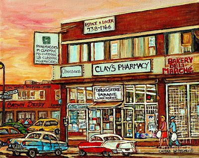 Pharmacy Painting - Brown Derby Van Horne Shopping Center Clay's Pharmacy Montreal Paintings City Scenes Carole Spandau by Carole Spandau