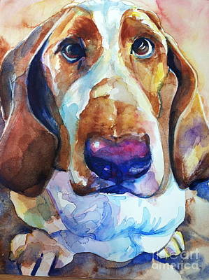 Bright Watercolor Portrait Bright Watercolor Painting - Brown Eyes by Maria's Watercolor