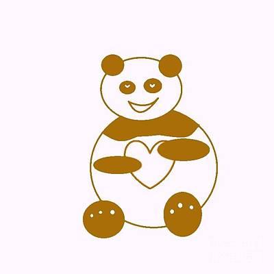 Brown Panda Print by Ausra Huntington nee Paulauskaite