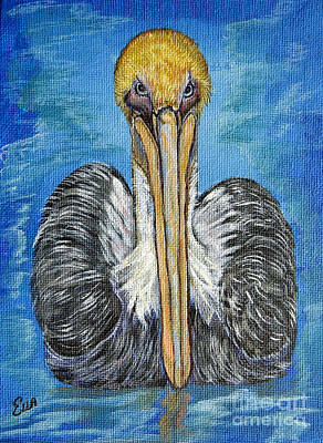 Pelican Mixed Media - Brown Pelican Floating In The Deep Blue Sea by Ella Kaye Dickey