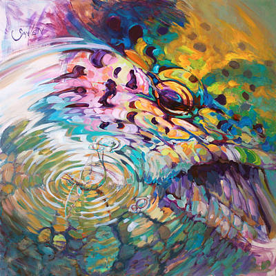 Sealife Art Painting - Brown Trout And Mayfly - Abstract Fly Fishing Art  by Savlen Art