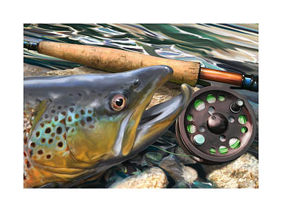 Flyfishing Digital Art - Brown Trout Sunset by Craig Tinder