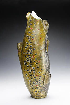 Ceramic Art - Brown Trout Vessel by Mark Chuck
