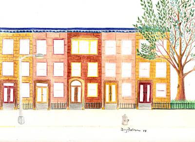 Harlem Drawing - Brownstone by Greg Roberson
