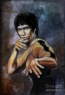 Hong Kong Digital Art - Bruce Lee  by Andrzej Szczerski
