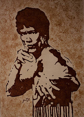 Bruce Lee Original Coffee Painting Original by Georgeta Blanaru