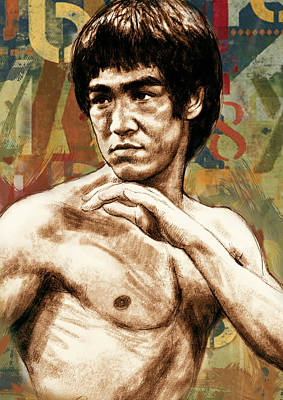Film Mixed Media - Bruce Lee - Stylised Pop Art Drawing Portrait Poster  by Kim Wang