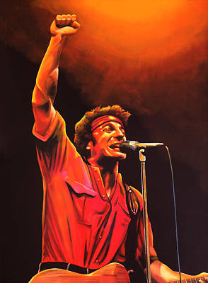 Bruce Springsteen Painting Print by Paul Meijering