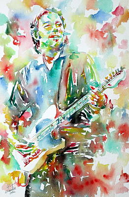 Bruce Springsteen Painting - Bruce Springsteen Playing The Guitar Watercolor Portrait.3 by Fabrizio Cassetta