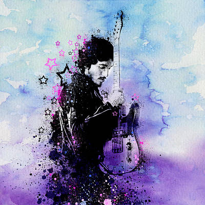 Rock N Roll Icons Digital Art - Bruce Springsteen Splats And Guitar 2 by Bekim Art