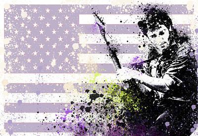 Rock N Roll Icons Digital Art - Bruce Springsteen Splats by Bekim Art