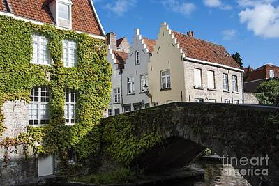 Stone Bridge Photograph - Bruges Gabled Homes Along Waterway by Juli Scalzi