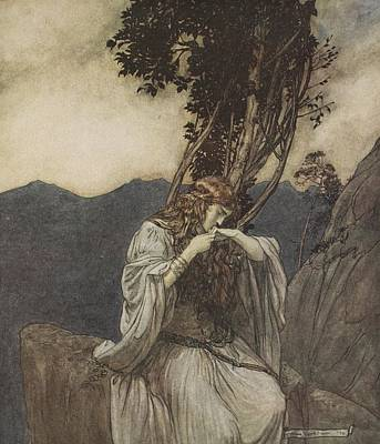 Brunnhilde Kisses The Ring That Siegfried Has Left With Her Print by Arthur Rackham