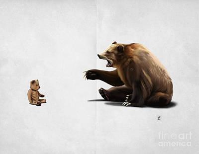 Teddy Bear Mixed Media - Brunt Wordless by Rob Snow