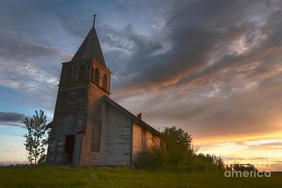 Alberta Prairie Landscape Photograph - Brush Hills Church At Sunset by Dan Jurak