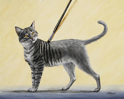 Gray Tabby Painting - Brushing The Cat - No. 2 by Crista Forest