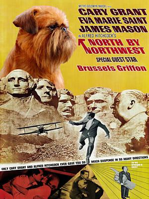 Brussels Griffon Art - North By Northwest Movie Poster Original by Sandra Sij