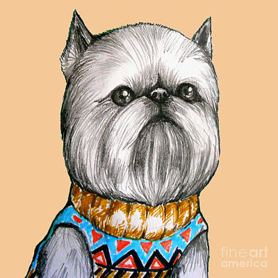 Griffon Mixed Media - Brussels Griffon Bruxellois by Nicole Chen
