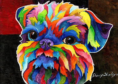 Abstract Dog Painting - Brussels Griffon by Sherry Shipley