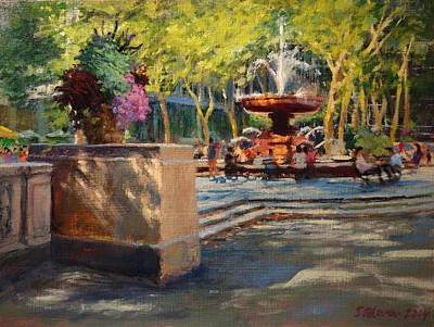 Bryant Park - Afternoon At The Fountain Terrace Print by Peter Salwen