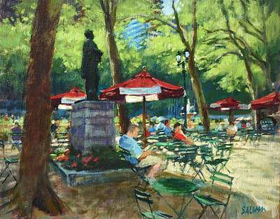 Bryant Park - The Reading Room Print by Peter Salwen