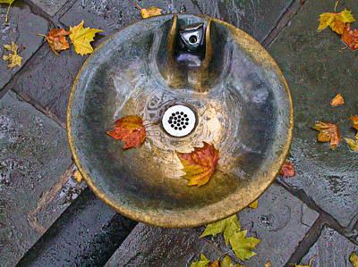 Bryant Park Fountain In Autumn Print by Gary Slawsky