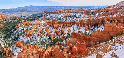 Framed Winter Snow Photograph - Bryce Canyon National Park by Henk Meijer Photography