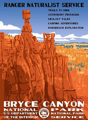 Bryce Canyon National Park Vintage Poster 2 Print by Eric Glaser