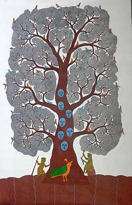 Gond Tribal Art Painting - Bs 30 by Bhajju Shyam